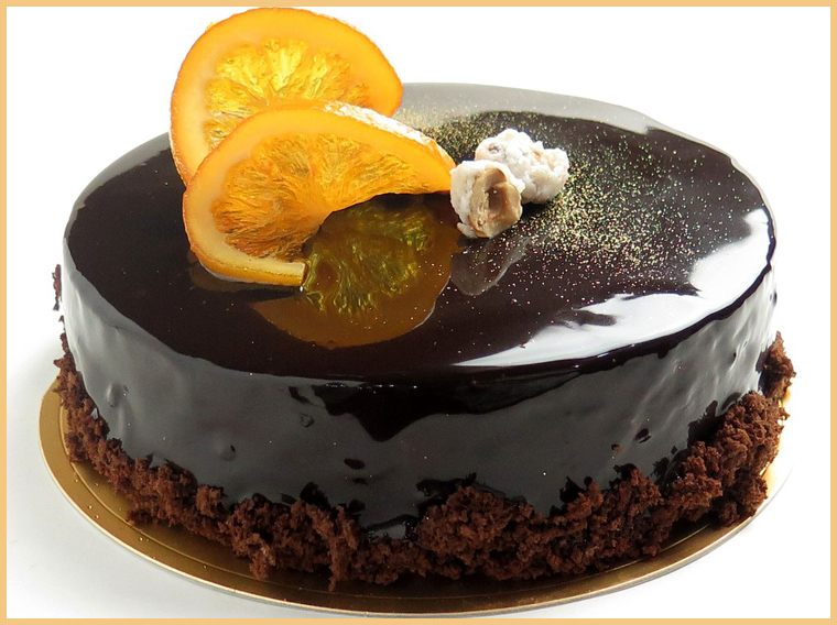 торт в глазури с апельсинами