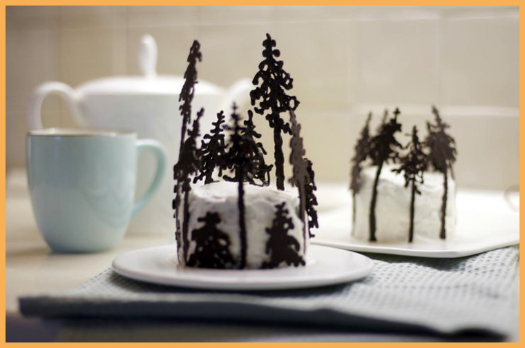 торт с шоколадными ёлочками