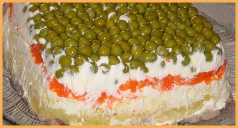 Торт-салат из овощей и рыбы