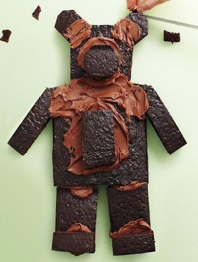 Шоколадный бисквитный торт Мишка для детского праздника