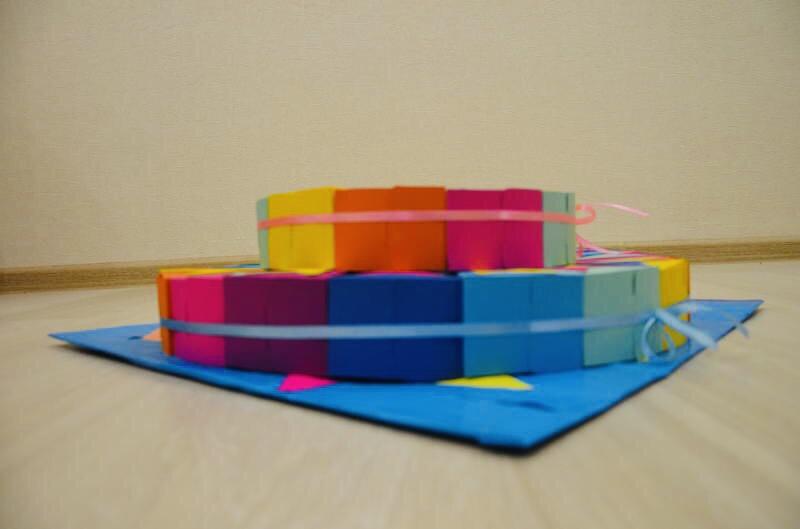 Детский бумажный торт «Цирк» с угощением внутри